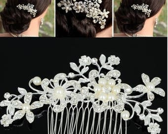 Bridal Hair comb, floral wedding headpiece, white and silver comb, Quartz crystal , pearls , Bridal Headpiece, Crystal andTM06