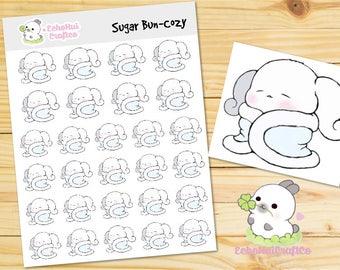 Cozy/ Cold Outside/ Winter Sugar Bun Bunny Emoji/ Emotions Planner Stickers
