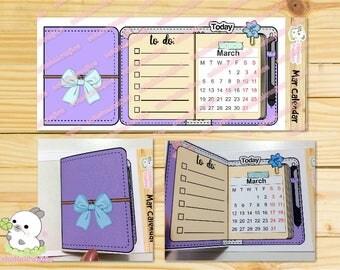 March Foldable / Flip Traveler's Notebook Calendar sticker Planning Kawaii Icon Planner Sticker