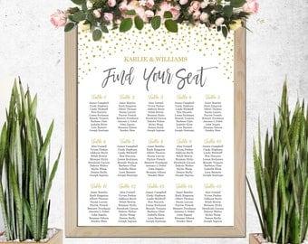 Wedding Seating Chart Template, Table Seating Chart, Printable Seating Plan, Gold Confetti Seating Plan, Seating Template, Instant Download