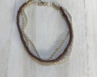 Purple/Brown Beaded Anklet, Bead Chain Anklet, Simple Anklet