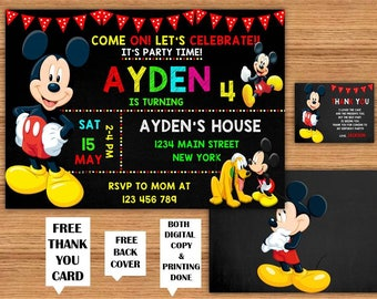 Mickey Mouse Kids Birthday Invitations with FREE Thank You Card