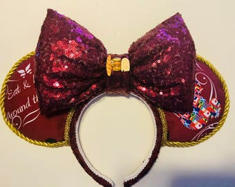 READY TO SHIP - Food and Wine Festival ears with food and beverage decor