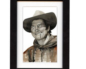 art, jack palance, art print, print, ranch, cowboy art, cowboy, gift, hat, old, western, decor, wall art, portrait, famous, saltwatercolors