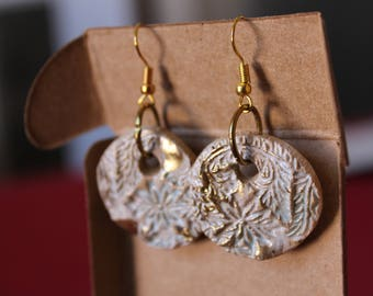 ceramic rounded earrings, handmade, new rustic, flowers,white clay  gold