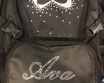nfinity sparkle backpack with embroidery black with white