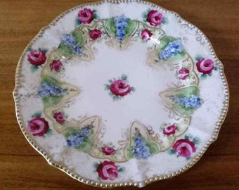 Hand Painted Nippon Decorative Plate-Roses