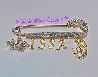 Muslim stroller pin with nameand choice of Allah Charm baby pin allah pin - muslim baby gift - islamic baby gifts