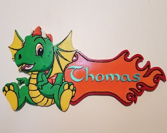 Green wooden dragon door plate, personalized and engraved, all done by hand