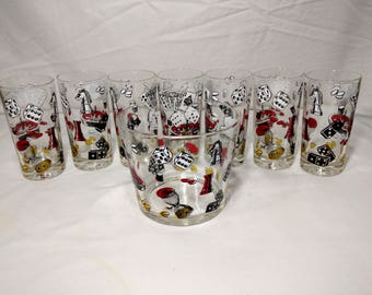 Retro Hazel Atlas gambling playing cards glasses with a mid century ice bucket
