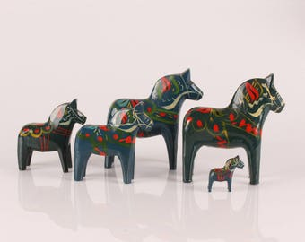 Dala Horses Blue and Green- Swedish Wooden Horses - Vintage Hand Painted