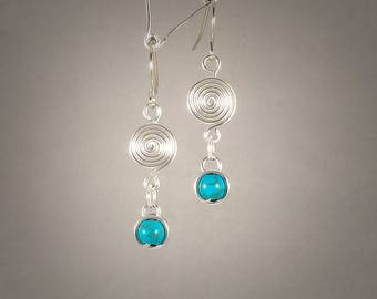 Single Spiral with Wrapped Turquoise