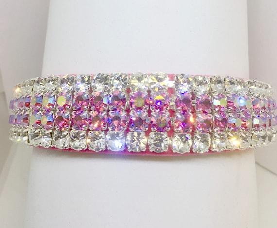 "Wide 1"" Pink Velvet ~Aurora Glow~ Crystal Rhinestone Dog Pet Collar + Free Paw Charm USA"