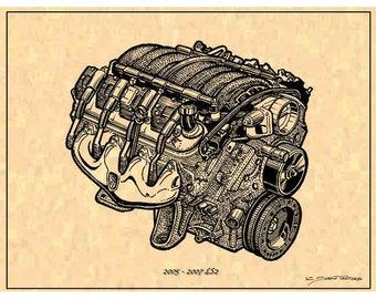 Corvette LS2 Engine Art Print, 2005 - 2007 LS2 Engine, 05-07 LS2 Engine Print,LS2 Corvette Engine  Art
