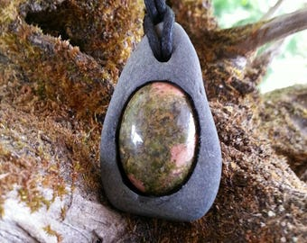 Unakite , River rock pendant,  necklace