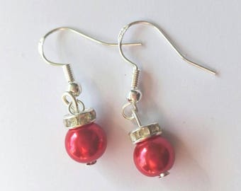 Bauble Christmas earrings - 925 sterling silver - red drop earrings