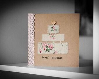 Vintage Style Birthday Cake Greeting Card