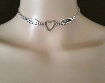 Silver Chain Choker with Heart Charm, Angel Wing Charm Pendant Necklace, Simple Chain Choker for Women & Girls, Valentines Day Gift for Her