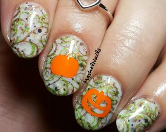 Pumpkins with Face Nail Decal