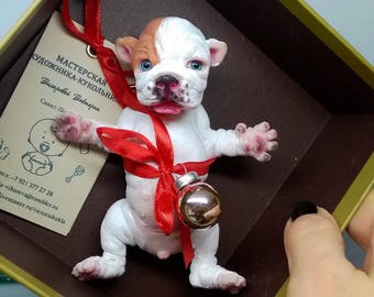 "silicone baby ""English bulldog ""5 in by Victoria- Vihareva"