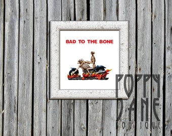 """Bad to the Bone // 8""""x8"""" Instant Download Art Print // Halloween Décor // Quirky Wall Art // Printable"""