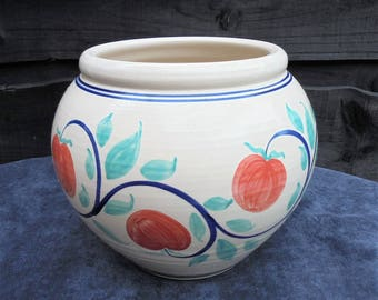 Belford Pottery Plant Pot Apples  / Indoor planter 7'' Tall /Fruit Pattern 1990's/Pottery planter/Hand Painted Planter/Vintage  Planter