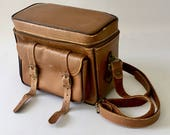1960s Vintage Brown Leather Perrin Camera Bag 609