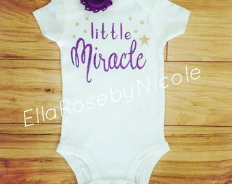 Little Miracle / Little Miracle Baby Outfit / Baby Girl Bodysuit / Baby Girl Announcement / Photo Prop / Baby Girl Gift