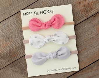 Baby Headband, Infant Headband, Baby Headband Set, Baby Girl Bow, Infant Bow, Newborn Bow, Mini Baby Headband, Nylon baby headband