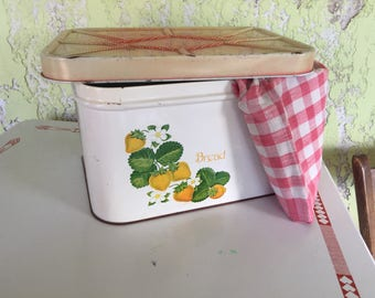 Vintage Tin Bread Box with Strawberry Design