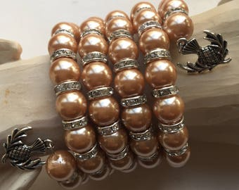 Brown Pearlised Bead, Crystal czech, memory wire bracelet
