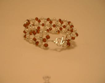 amber crystal and pearl Bracelet , birthday gift, beaded, toggle clasp