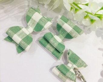 Green Gingham Glitter Hair Bow Accessory