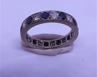 Lovely Sapphire and Diamond Eternity Ring