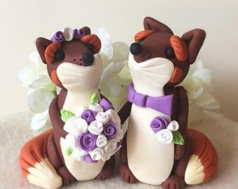 Fox Bride and Groom Wedding Cake Topper- Personalised