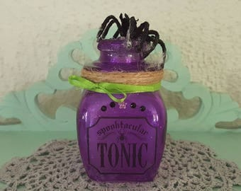 Halloween decor, witches spell bottle