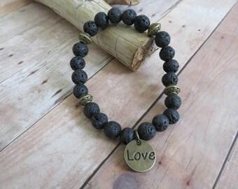 Lava Stone Bracelet, Charm Bracelet, Diffuser Bracelet, Essential Oil Bracelet, Aromatherapy Bracelet