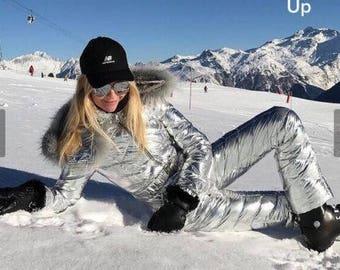 Winter Jumpsuit Womens Playsuit Silver Snowsuit Outwear Outfit Sport Ski Warm Romper Snowboard Snowsuit Tracksuit Hodded Fur Skisuit Gloss