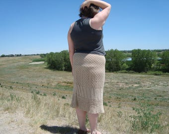 SALE Crochet Skirt 1970s XL 1X 2X Plus Size Vintage Natural Skirt Festival Boho Gypsy Hippie Prairie Country Chic