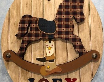 Rocking Horse Wall Art - CH21 (Free Customized Name Offered)