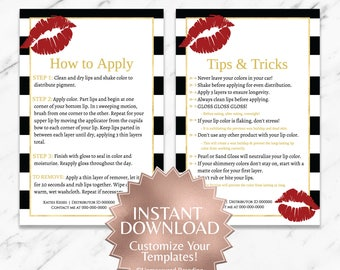 Black Striped with Red Lips LipSense Tips and Apply Templates