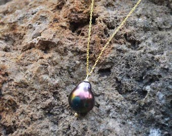 Pearl necklace - pearl purple necklace