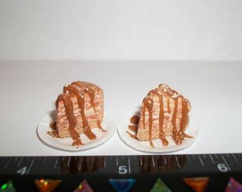 Dollhouse Miniature Handcrafted Autumn/Fall Pumpkin Caramel Cheesecake Slices ~ Dessert Doll Food