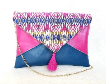 "Clutchebag ""Nahua"" collection made in France. Jacquard imitation. Shoulder range. Wedding gift idea."