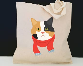 Personalized Calico Cat Tote Bag (FREE SHIPPING), 100% Cotton Canvas Cat Tote Bag, Calico Cat Tote Bag, Cat Totes, Cat, Cat Gift, Calico Cat