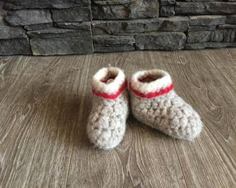 100% wool felted booties, 6inch sole, approx. fits3-4 yrs