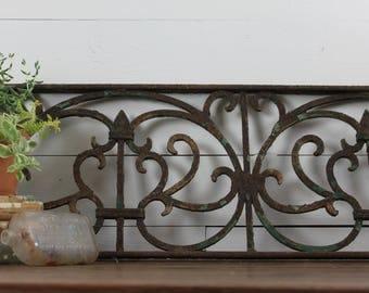 Architectural Salvage Antique Victorian Iron Fence Panel, Orante Iro Work