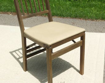 Vintage Mid Century Stakmore Chair, Folding Accent Desk Chair, Gray Brown  White Wood Faux