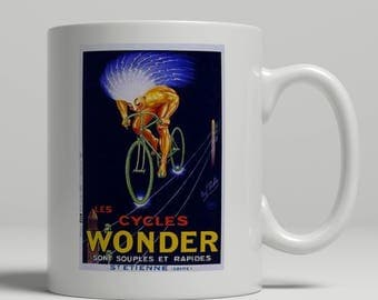 Cyclist gift idea vintage bike advertising poster printed on a new ceramic mug. Loving all things art deco and retro. UK Mug Shop. VT 29