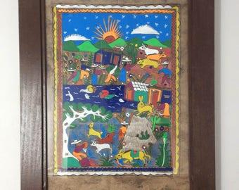 Vintage Mexican Handmade Amate Bark Painings